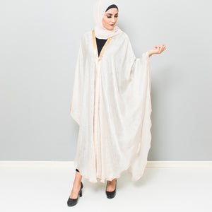 CREAM LUXURY CAPE WITH GOLDEN TRIMMING