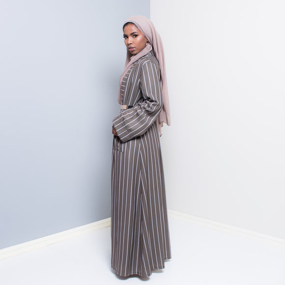 VERTICA OLIVE STRIPED OPEN ABAYA