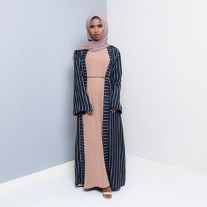 VERTICA BLACK STRIPED OPEN ABAYA