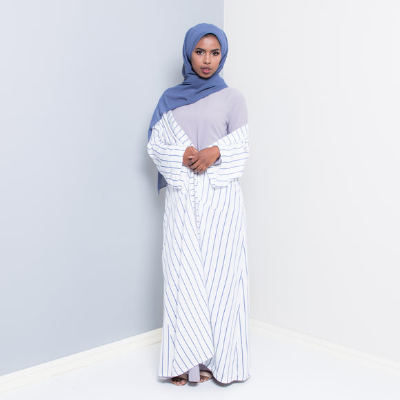VERTICA WHITE STRIPED OPEN ABAYA