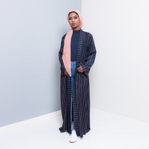 VERTICA NAVY STRIPED OPEN ABAYA