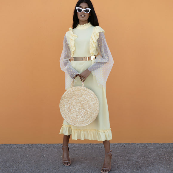 SUNFLOWER DRESS WITH DRAMATIC SLEEVES