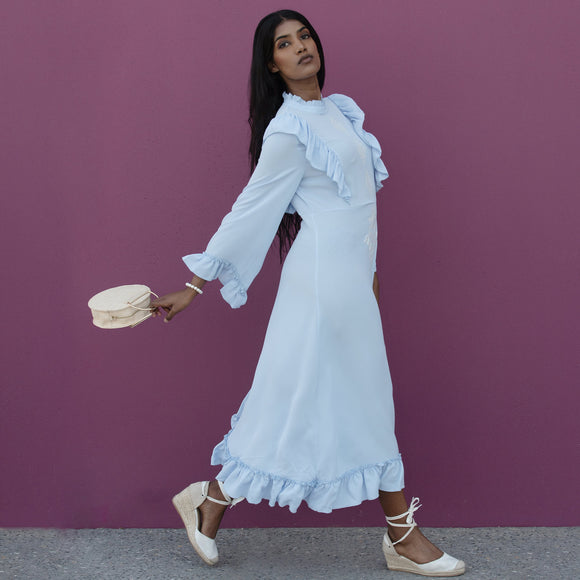 NUR LONG SLEEVE FRILL MIDI DRESS