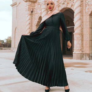 AYLA BLACK PLEATED SATIN DRESS
