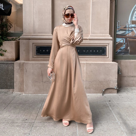 IMAN WRAP DRESS - TAUPE