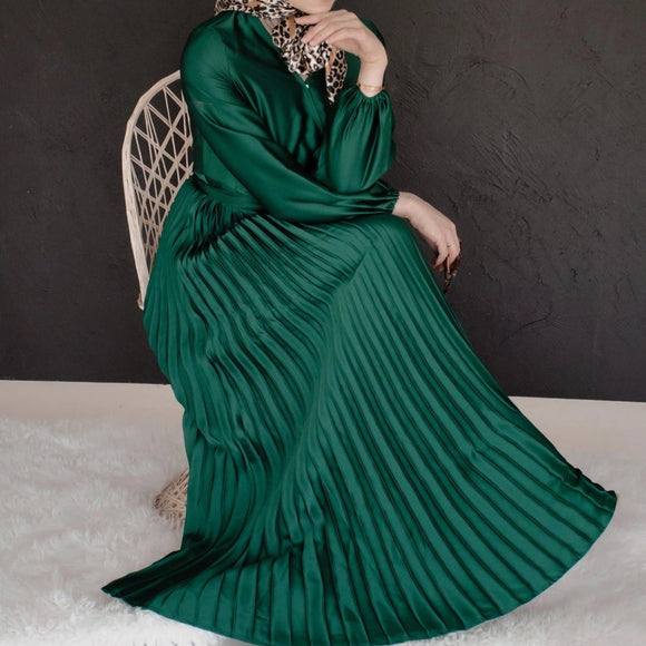 AYLA EMERALD PLEATED SATIN DRESS