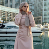 BLUSH CHINE RUCHED DRESS
