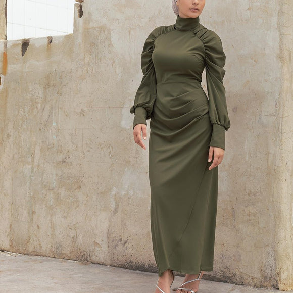 KHAKI RUCHED SLEEVE DRESS