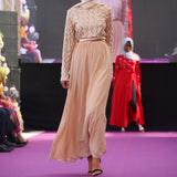 FAIRYDUST BEIGE SEQUIN CHIFFON DRESS