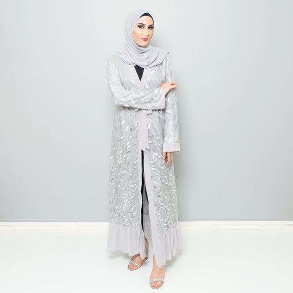SILVER EMBROIDERED LEAF ABAYA