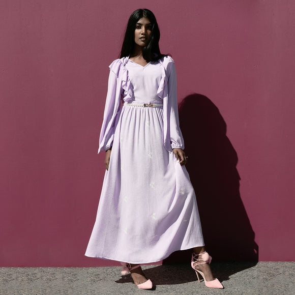 AMETHYST RUFFLE DRESS