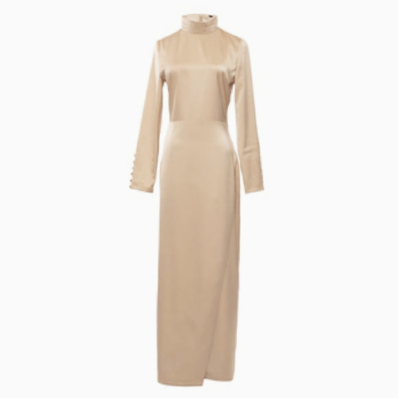 DELUXE BEIGE HIGH NECK SATIN DRESS