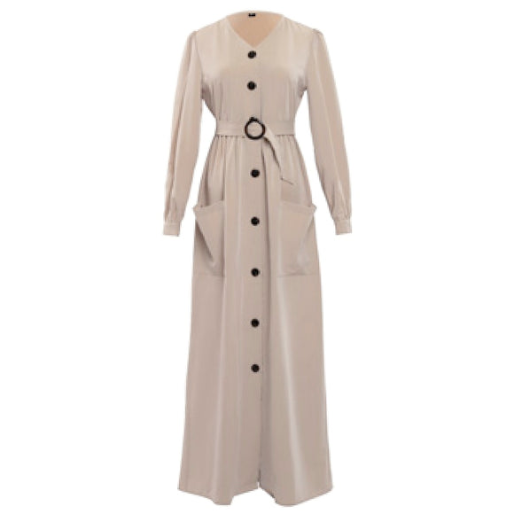 BEIGE BUTTON BELTED DRESS