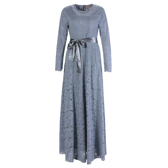 VENETIAN GREY LACE DRESS