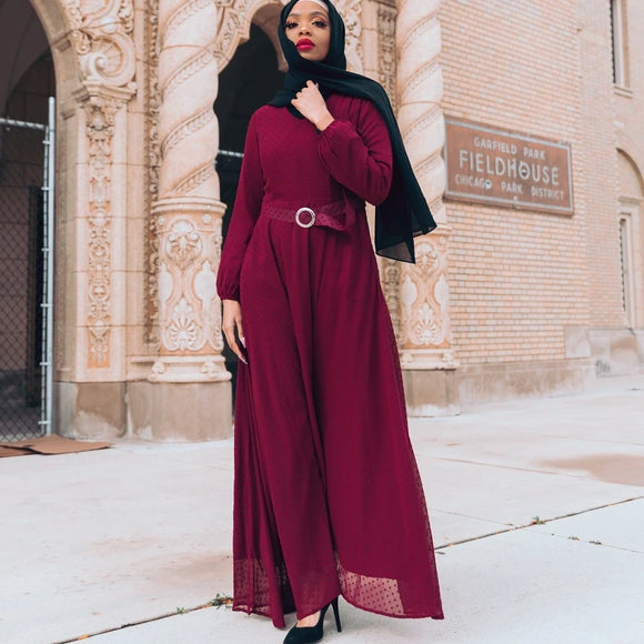 WHIMSICAL BURGUNDY EMBOSSED DRESS