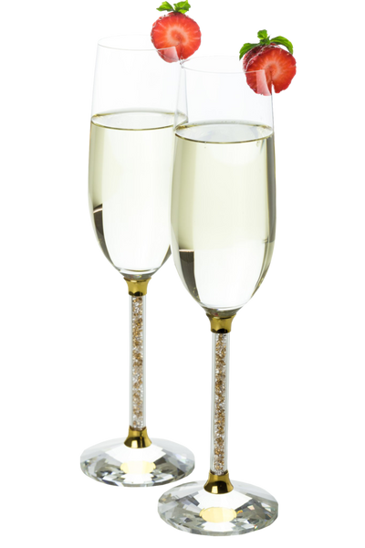 Set of 2 Champagne Glasses with Gold Crystal Filled Stems
