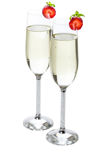Set of 2 Silver Champagne Glasses with Clear Crystal Filled Stems
