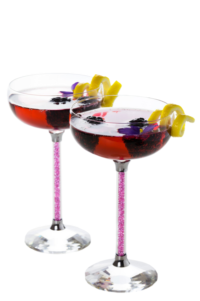 Set of 2 Crystal Coupe Glasses with Pink Crystal Stems