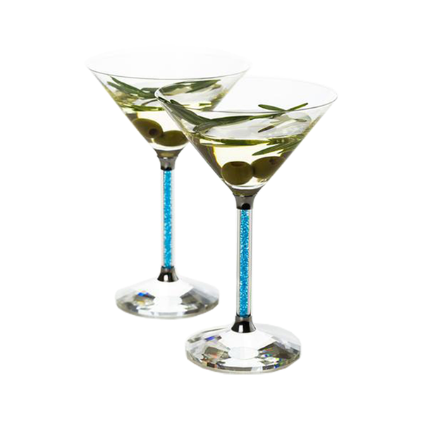 Set of 2 Martini Glasses with Blue Crystal Filled Stems