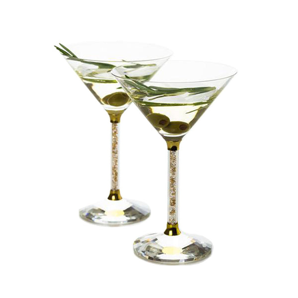 Set of 2 Martini Glasses with Gold and Clear Crystal Filled Stems