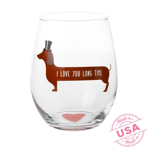 I Love You Long Time Dachshund Stemless Wine Glass