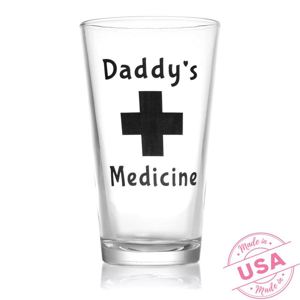 Daddy's Medicine Beer Glass 16oz