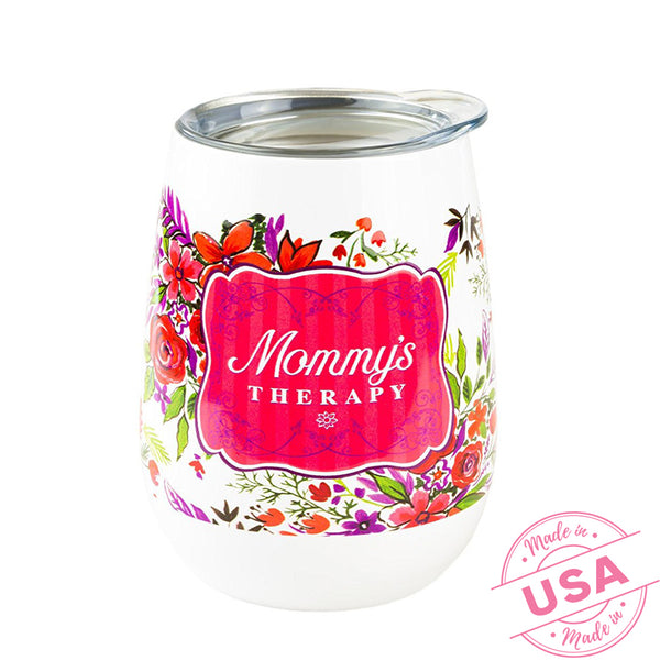 'Mommy's Therapy' Stainless Steel Insulated Tumbler with Lid - Hot & Cold Temperature Control