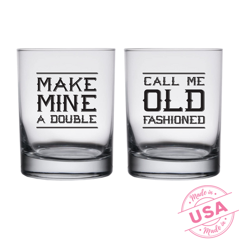 Call Me Old Fashioned & Make Mine a Double Highball Whiskey Glasses (Set of 2)