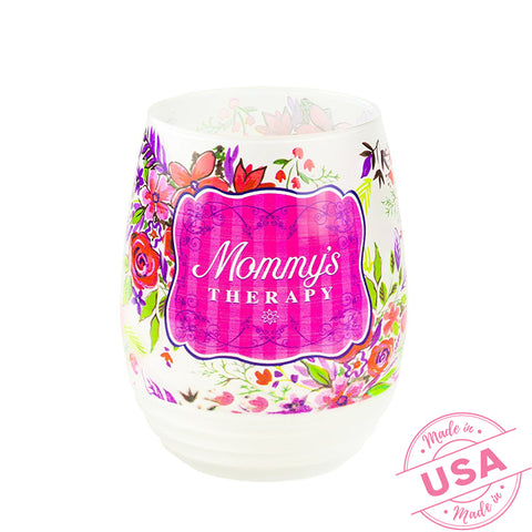 'Mommy's Therapy' Stemless Frosted Wine Glass