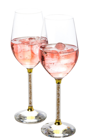 Set of 2 Wine Glasses with Brilliant Gold and  Clear Crystal Filled Stems