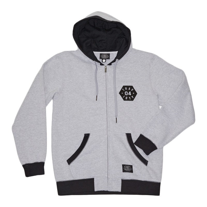 04 STAR Zip Hood (Grey/Black) Travisty Men's Clothing