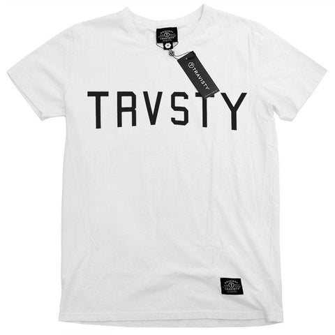 TRVSTY Logo Tee (White) and Trucker (Black) Travisty Men's Clothing