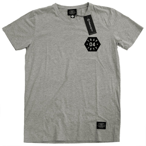 04 STAR Tee (Grey Marle/Black) Travisty Men's Clothing