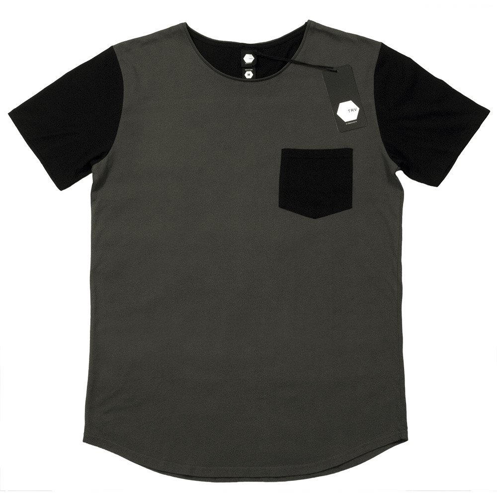 T SHIRT - TRV BASICS POCKET Tee (Charcoal/White)