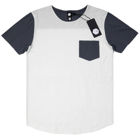 T SHIRT - TRV BASICS POCKET Tee (Midnight Blue/White)
