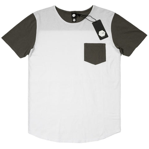 T SHIRT - TRV BASICS POCKET Tee (White/Charcoal)