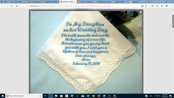 Mother or Father to Daughter Gift on her Wedding Day Handkerchief , Something Blue, Personalized Wedding Handkerchief, 208S