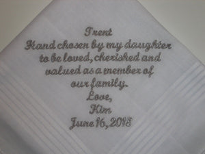 For Son-in-law, wedding wishes handkerchief, new family member handkerchief, welcome new son 215