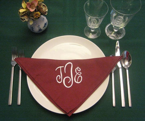 12 Monogrammed cranberry dinner napkins. FREE shipping in the US