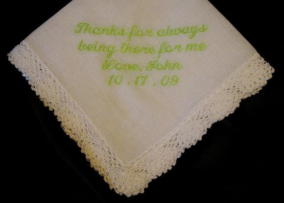 Embroidered Mother of the Groom Gift – Mother of the Groom Handkerchief – Wedding Handkerchief  51S