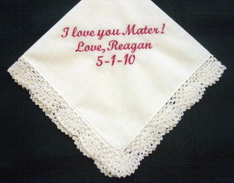 Spanish Mother with FREE Gift Box 75S FREE shipping Personalized Wedding Handkerchief