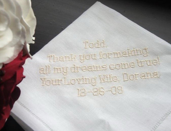 Personalized Wedding Gift- Wedding Linen Handkerchief with Gift Box 7B