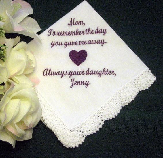 30 words of your choice.Embroidered Mother of the Bride Gift 95S