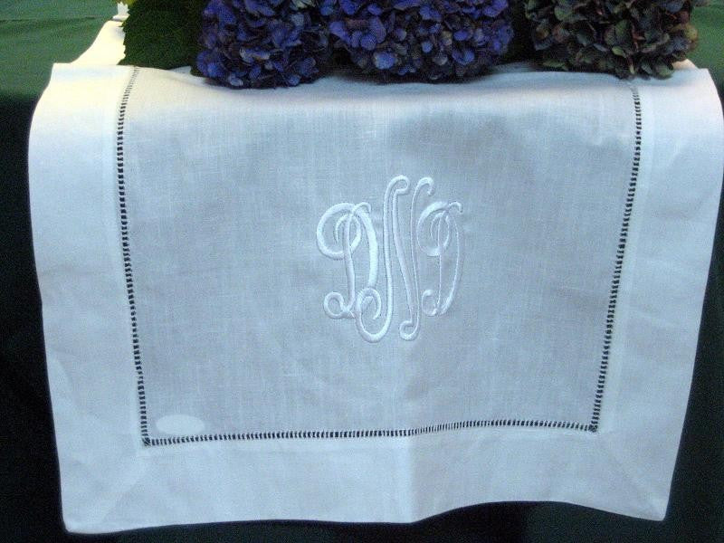 White Linen Hemstitched Table Runner 16x54