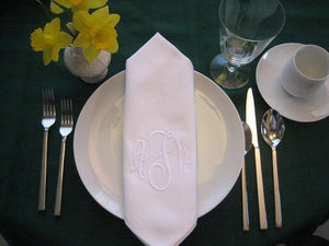 "20""x20"" White Monogram Dinner napkins with a buttonhole, polyester blend. No embroidery!"