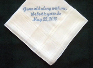 Wedding Hankie from Bride to Groom pocket square 47S