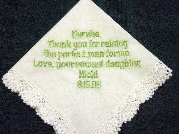 Mother of the Groom Hanky 8B bridal hankie,wedding handkerchief,embroidered hankie