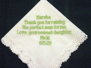 Embroidered Mother of the Groom Gift Handkerchief, Personalized Hankie 8B