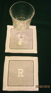 Personalized Bar Napkins - White embroidered 6x6in. cocktail napkins