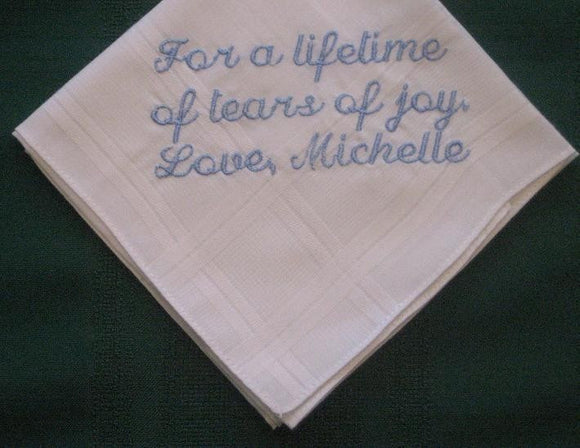Wedding Hankie from Bride to Groom 94S with free gift box hankie,hanky